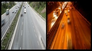 Night and day freeway traffic HD 1080p Stock Footage