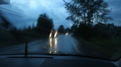 Wet rural road. Two shots. Stock Footage