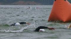 Swimmers Racing In Triathlon 05 Stock Footage