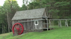 Water Wheel and Pond Pan - stock footage