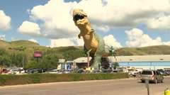 Giant T-Rex dinosaur in Drumheller Stock Footage