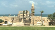 Timelaps - ancient stone building by the sea Stock Footage