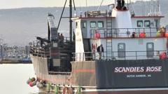 Crabbing Vessel and Fishing Trawler in Harbor Stock Footage