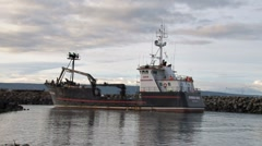 Crabbing Vessel and Fishing Trawler Enter Harbor 2 Stock Footage