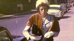 HOMELY Woman Fur Coat FUNNY HAT 1960S Vintage Film 8mm Home Movie 417 Stock Footage