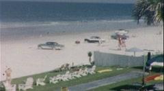 Cars Drive on the Beach Daytona Florida 1960s Vintage Film Home Movie 416 Stock Footage