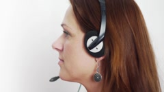 Woman - With Headset Smiling Stock Footage
