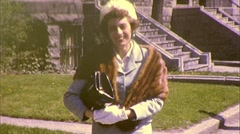 Woman Wearing Fox Mink Animal Fur Coat 1960s Vintage Film  Home Movie 418 Stock Footage