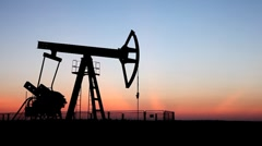 HD Fossil Fuel Energy, Oil Pump, Pumpjack, Old Pumping Unit, Jack Pump, Sunset Stock Footage