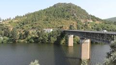 Tajo River bridge in Portugal Stock Footage