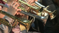 Full frontal view of trumpets - stock footage