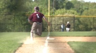 Stock Video Footage of Runner tags up at third