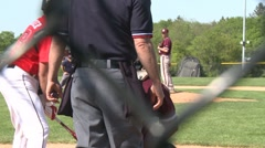 Batter hits a line drive Stock Footage