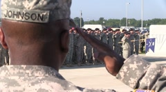 Soldiers in formation, saluting as the National Anthem plays(HD) c - stock footage