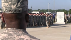 Soldiers called to attention and saluting as the National Anthem is played(HD) c Stock Footage
