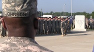 Stock Video Footage of Soldiers called to attention and saluting as the National Anthem is played(HD) c