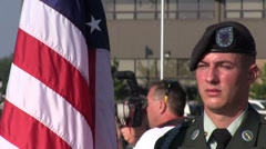 Soldier with American Flag(HD)c Stock Footage