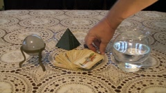 Esoteric - Pendulum and Spanish Fortune Cards Stock Footage