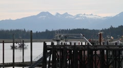 Fishing trawler, home port Stock Footage