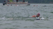 Stock Video Footage of Swimmers Racing In Triathlon 03