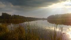 Evening on lake - stock footage
