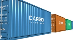 Freight shipping concept: color moving cargo containers Stock Footage