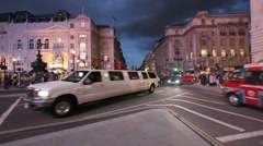Limousines on Piccadilly Circus, London Stock Footage