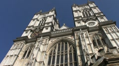 Tilt up to the tall towers of Westminster Abbey London - stock footage