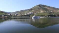 Boat on Douro River in Portugal Stock Footage