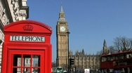 Stock Video Footage of Red telephone box and Big Ben clock tower London England