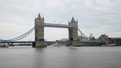 Stock Video Footage of Time Lapse of London's Tower Bridge Lifting for Cruise Ship