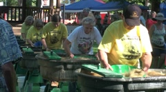 Women only gold panning contest Stock Footage