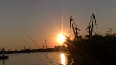 Sunset at the port Stock Footage