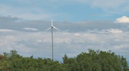Wind Turbine Trees and Clouds Stock Footage