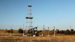 HD Fossil Fuel Energy, Oil Pump, Pumpjack, Old Pumping Unit, Jack Pump, Donkey Stock Footage