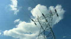 time lapse cloud Electricity Pylon - stock footage