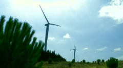 Wind energy forest land Stock Footage