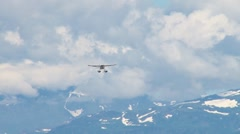 Red and White Floatplane on Approach Stock Footage
