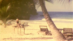 Paradise Dream Vacation Tropical Ocean Beach 1960s Vintage Film Home Movie 439 Stock Footage
