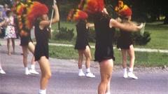 Teenage Girls Majorettes Toss Baton Parade USA 1970s Vintage Film Home Movie 442 Stock Footage