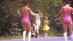 Teenage Girls Majorettes Marching in Parade 1970s Vintage Film Home Movie 443 Stock Footage