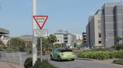 Give way to right roundabout Stock Footage
