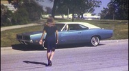 SUBURBAN Girl and 70s Car Teen Young Suburb 1970 Vintage Film 8mm Home Movie 449 Stock Footage