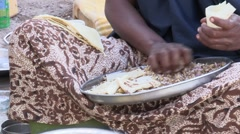 Somalia: CU of IDP woman Making Food Stock Footage