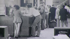People Check In Counter Airport Lobby Passenger 70s Vintage Film Home Movie 450 Stock Footage