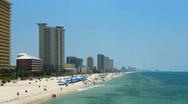 Stock Video Footage of Resorts along the emerald coast beaches in Panama City Beach, Fl