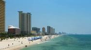 Resorts along the emerald coast beaches in Panama City Beach, Fl Stock Footage