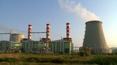 Power plant smokestacks time lapse Stock Footage