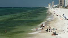 People and dogs enjoying Panama City Beach Stock Footage