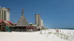 Beachfront restaurant and tiki bar along Panama City Beach - stock footage
